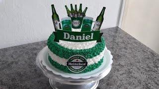Bolo Heineken com topper e dica de caixa para topper