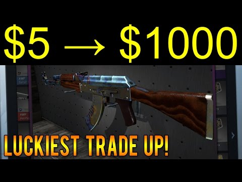 LUCKIEST CS:GO Trade Up Ever! ($5 to $1000 - 1/20,000 Chance!)