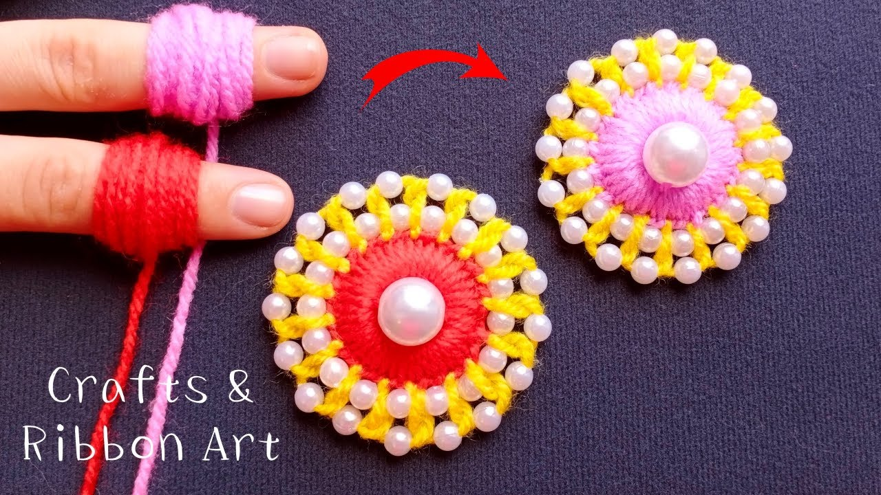Amazing Woolen Craft Ideas with Finger - DIY Woolen Flower - Hand Embroidery Easy Trick -Sewing Hack