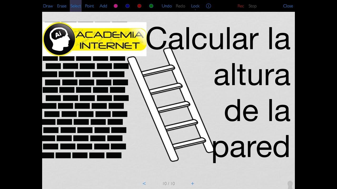 Aplicación Teorema de Pitágoras, escalera apoyada en una pared - YouTube