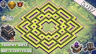 BEST!! Clash of Clans Town Hall 9/TH9 Trophy Base With Gear Ups ♦ TH9 Base Anti Everything 2017