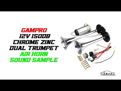GAMPRO 12V 150db Chrome Zinc Dual Trumpet Air Horn Sound Sample