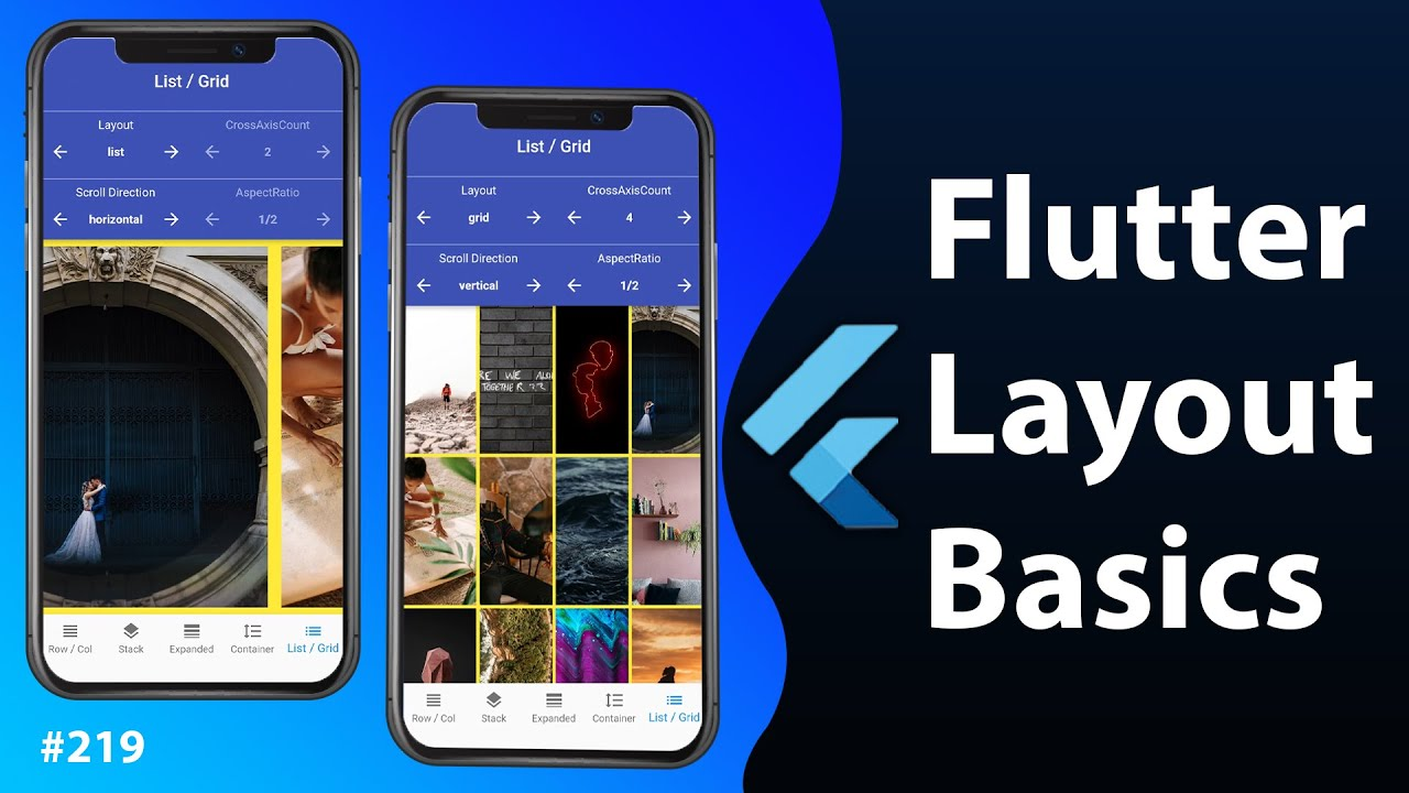 Flutter Layout Basics: Row, Column, Stack, Expanded, Container, ListView, GridView [2021]