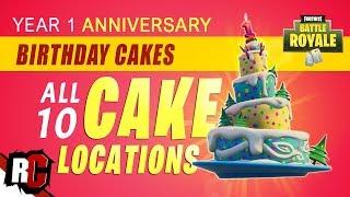 All BIRTHDAY CAKE Locations in Fortnite (Birthday Challenges / 1 Year Birthday Celebration)