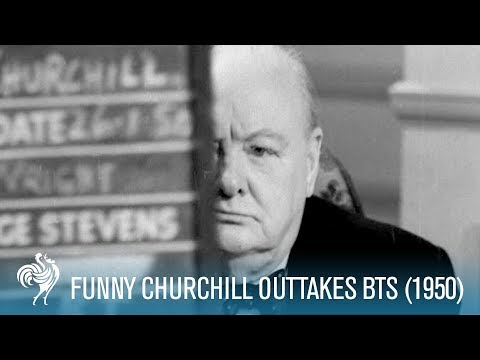 Funny Winston Churchill Outtakes: Behind the Scenes (1950) | British Pathé