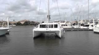 New Leopard 44 catamaran maneuvering in breezy tight quarters