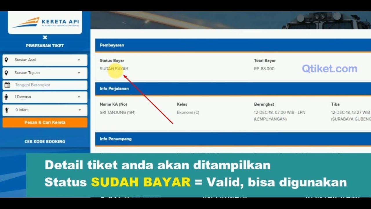 cara cek kode booking tiket kereta api online valid melalui hp rh youtube com