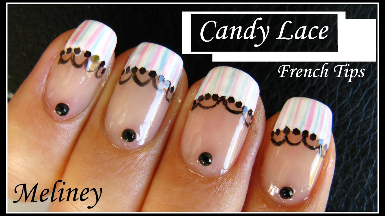 CANDY LACE FRENCH TIP NAIL ART DESIGN | NAIL TUTORIAL MANICURE FOR  BEGINNERS HOME MADE EASY   YouTube