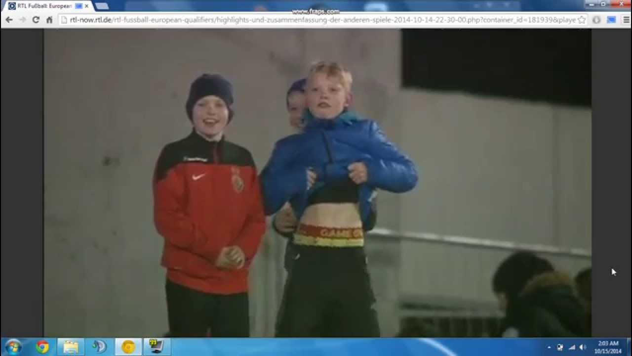 Faroe Islands vs Hungary (10/14/2014) - Boy showing his boxers ...