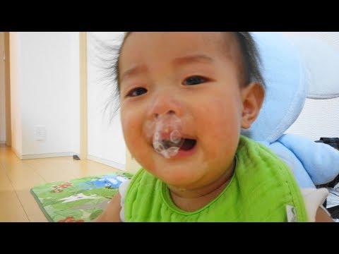 くしゃみで特大の鼻ちょうちん・赤ちゃん 生後9ヶ月  - Baby Vlog