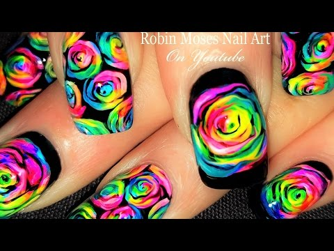 DIY Neon Rainbow Rose Nails! | Kaleidoscope Moses Roses Nail Art Tutorial