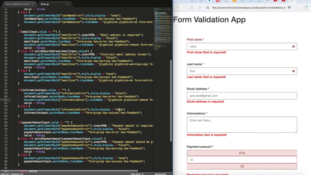 Form Validation Bootstrap Css Glyphicons Part 4 Youtube