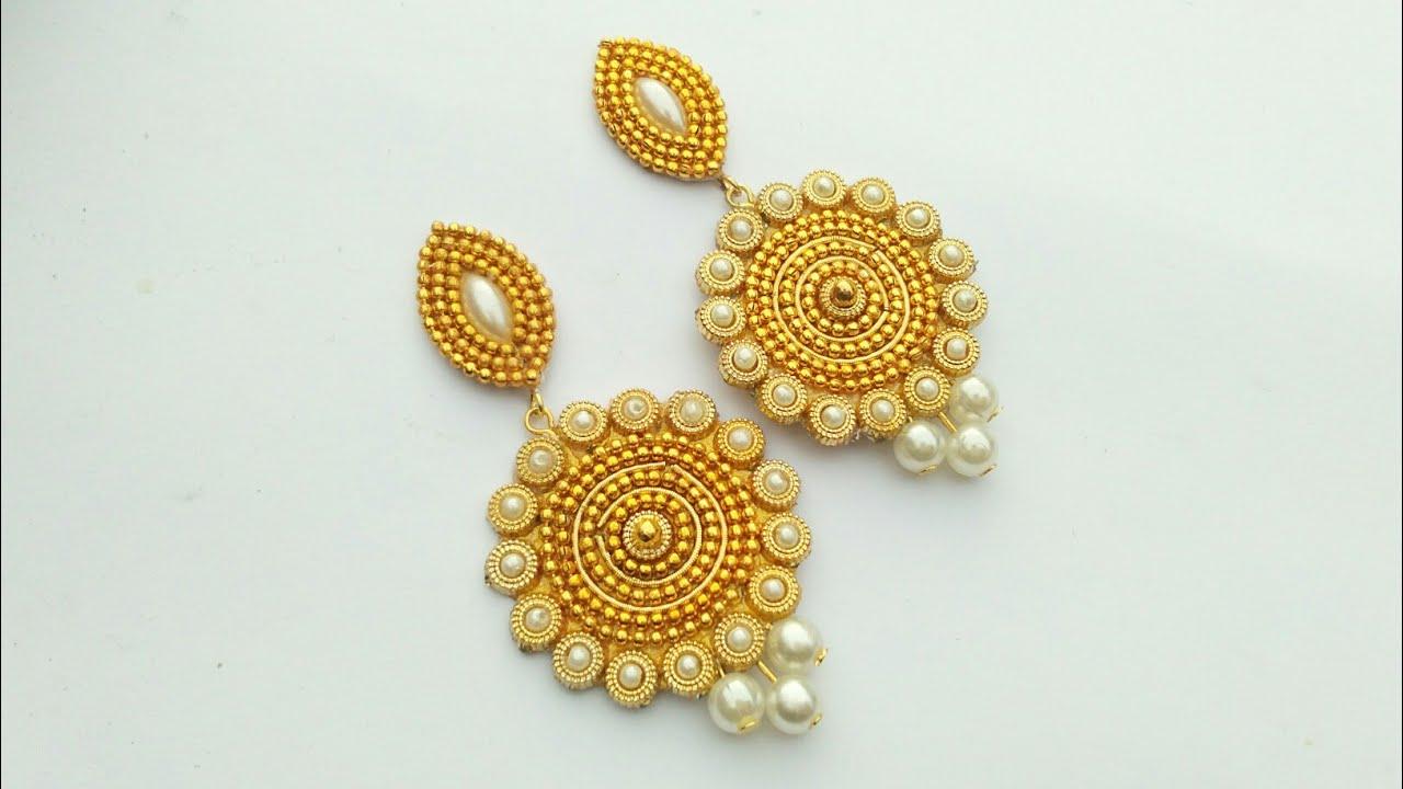 How To Make Designer Fancy Earrings | Jewellery Making | DIY | + ...
