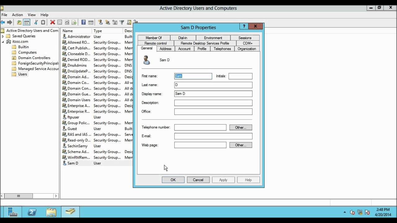 How To Create A Domain User Account In Windows Server 2012