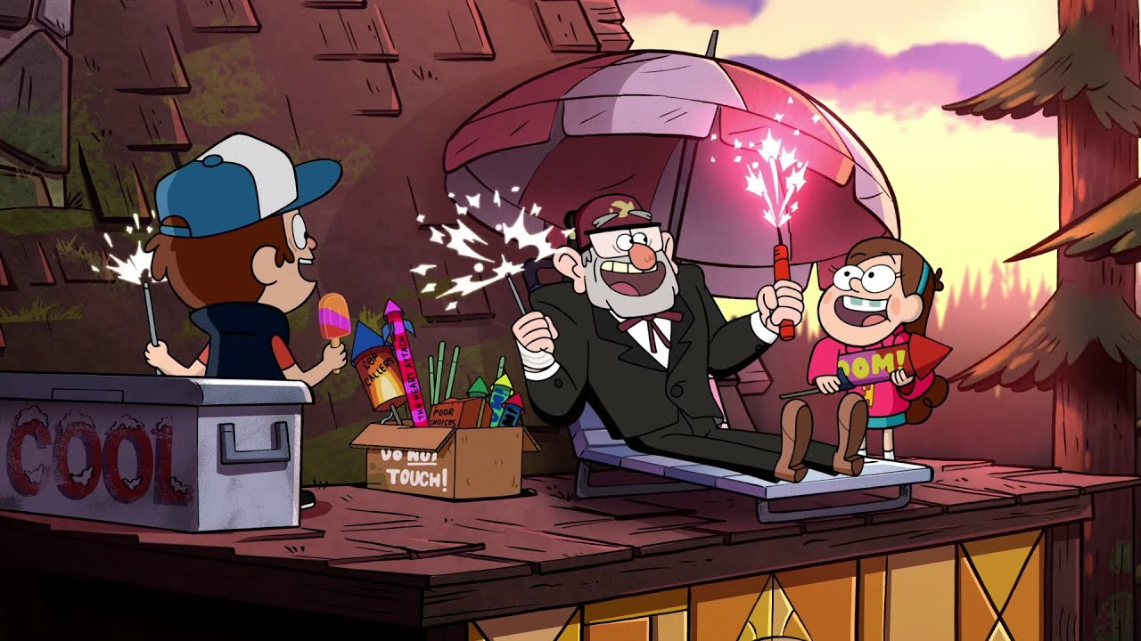 Desktop Wallpaper Fall Scenery Gravity Falls Crazy Rooftop Fireworks Party Youtube
