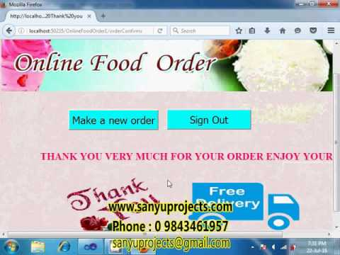 Online Food Order ASP.Net Ms Access Project Video