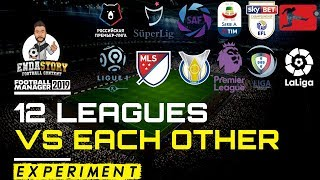 12 Football Leagues Vs Each Other Over 1 Season - Football Manager Experiment - FM19
