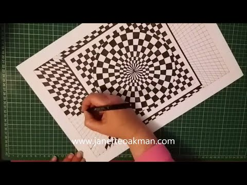Geometric Art with Artist Janette Oakman 4 - Optical Illusion - Time Lapse - Black & White Drawing
