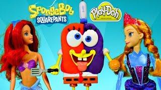 How To Make Play Doh Spongebob Squarepants Frozen Anna and Barbie Mermaid Ariel Episode