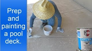 Painting a pool deck using h&c acryla-deck with cool feel technology.