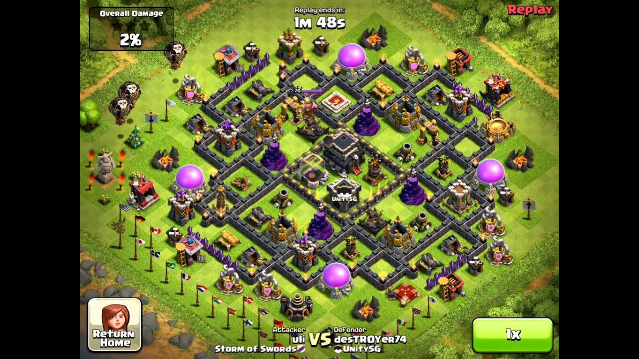 Clash of Clans defense, 3 Air Def down with Balloon/Minion ...