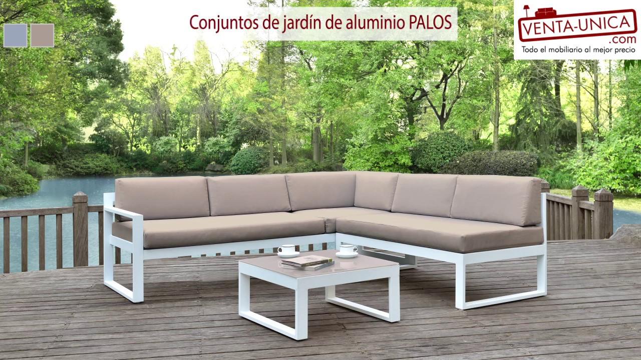 Conjuntos de jard n palaos aluminio gris topo youtube for Conjuntos de jardin muy baratos