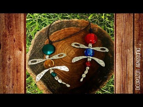 Collar de libélula con cristal de murano Ref: 8093 D.Corazón Artesanía.
