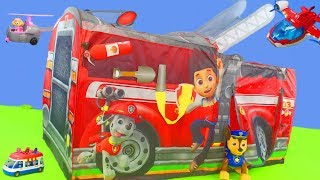Paw Patrol Unboxing: Feuerwehrmann Zelt mit Marshall, Chase, Ryder, Skye, Rubble & Spielzeugautos