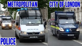Police siren & lights - Metropolitan & City Of London Police Riot Vans X6