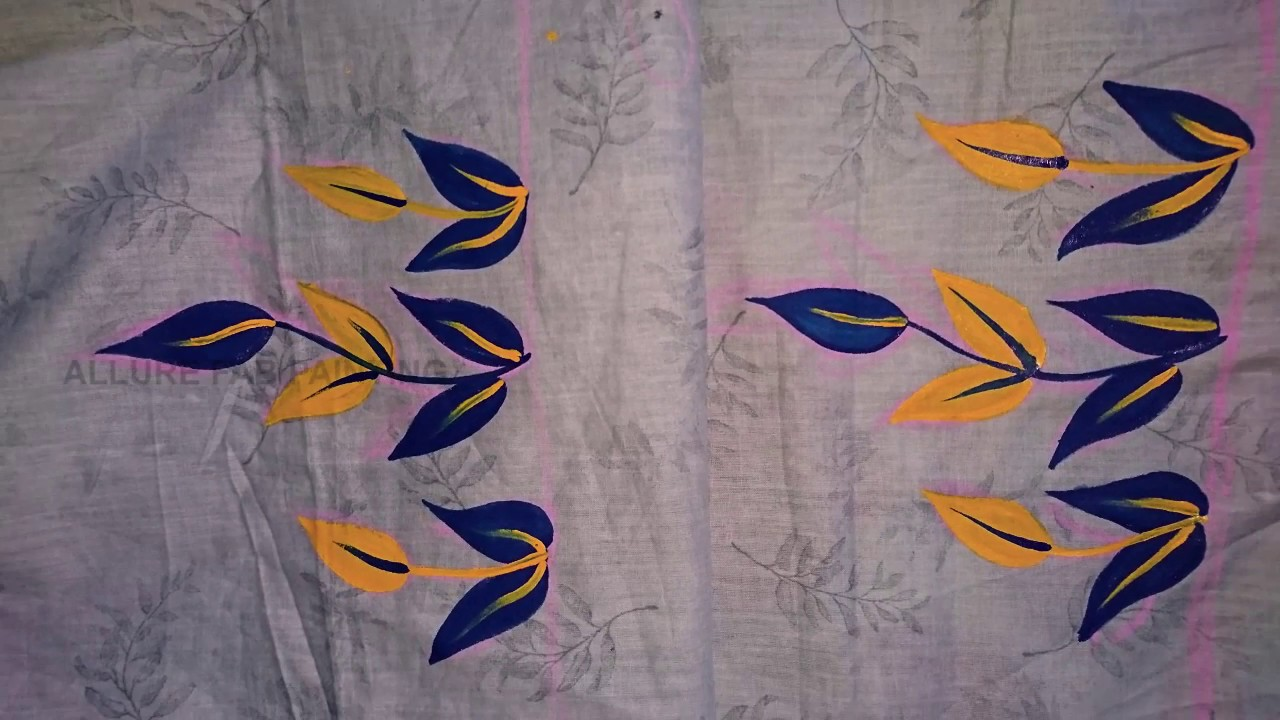 Blue And Yellow Flowers Fabric Painting Youtube