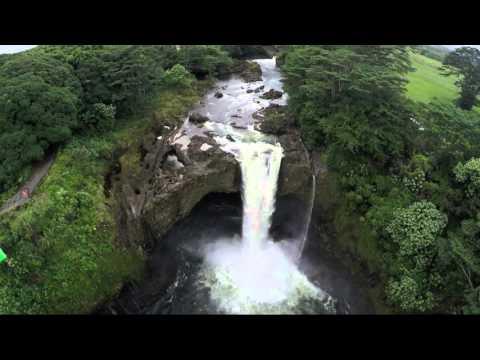 Rainbow Falls Drone View Hilo Hawaii