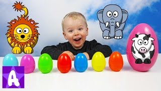 Funny Alex Learns Animals Names and Sounds with Surprise Eggs