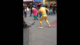 Pure joy on the streets of Brighton ? Beautiful old Dancing Lady & Disco Bunny