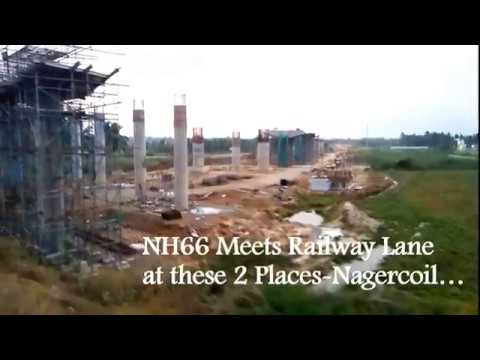 NH 66 Crosses Railway Lane at Nagercoil(2 places)
