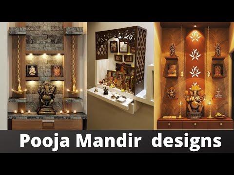Pooja Mandir Design in living room   Puja room temple design ideas