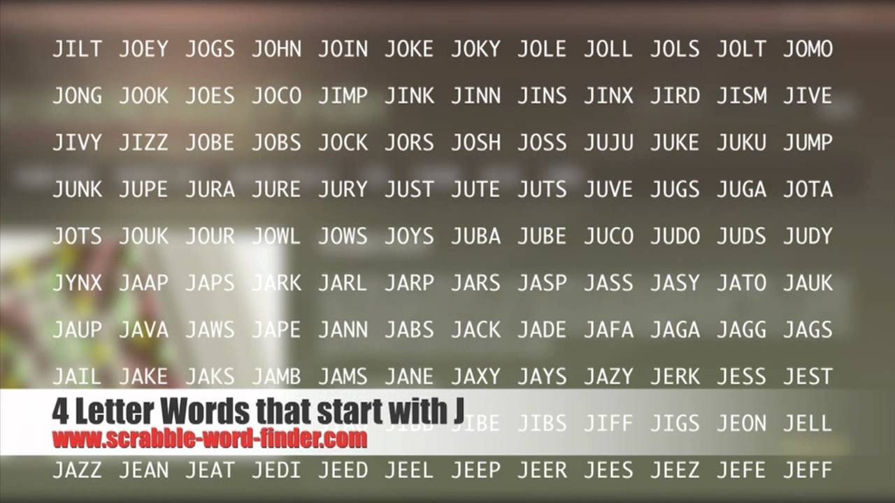4 letter words that start with J