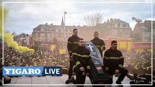 🔴 Ces pompiers défilent contre les agressions à Strasbourg!