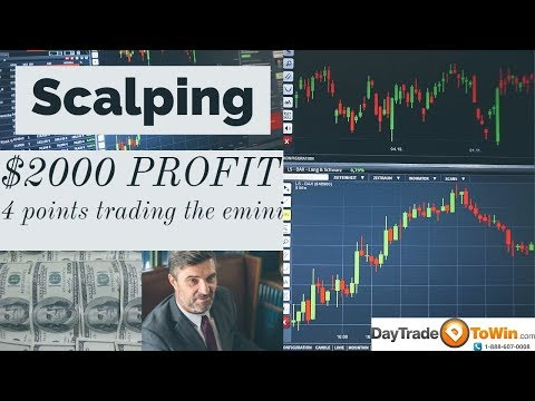 Scalping Trading Strategy for beginners with Ninja Trader Episode 2: 4 points of profit on the eMini