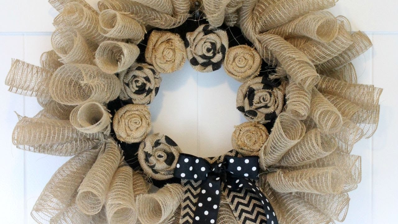 How To Make A Deco Mesh And Burlap Wreath Diy Home