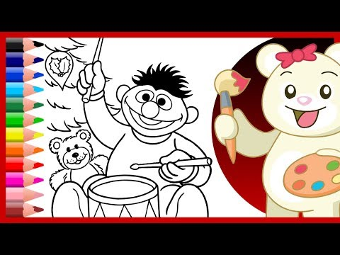 ernie-drummer-boy- -sesame-street-christmas-coloring---kids-learn-colors