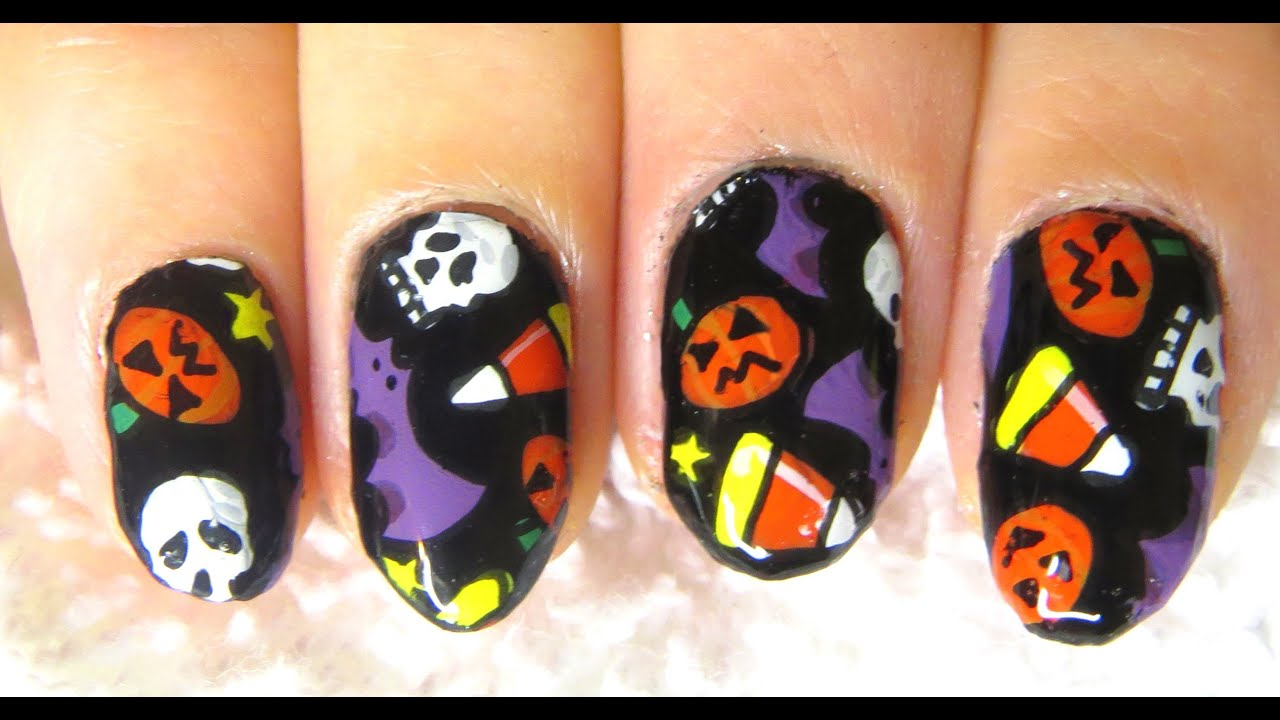 EASY DIY Fun Halloween Party Nail Art Sticker Tutorial - YouTube