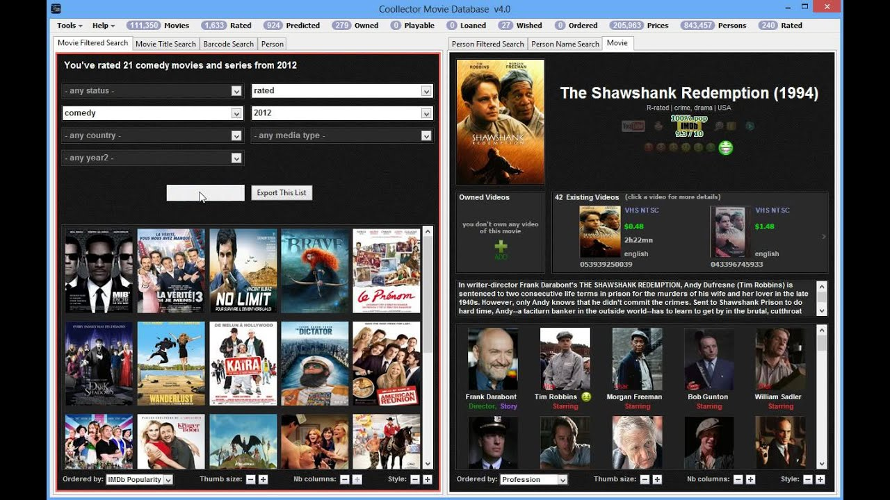 Coollector Movie Database - The filtered search