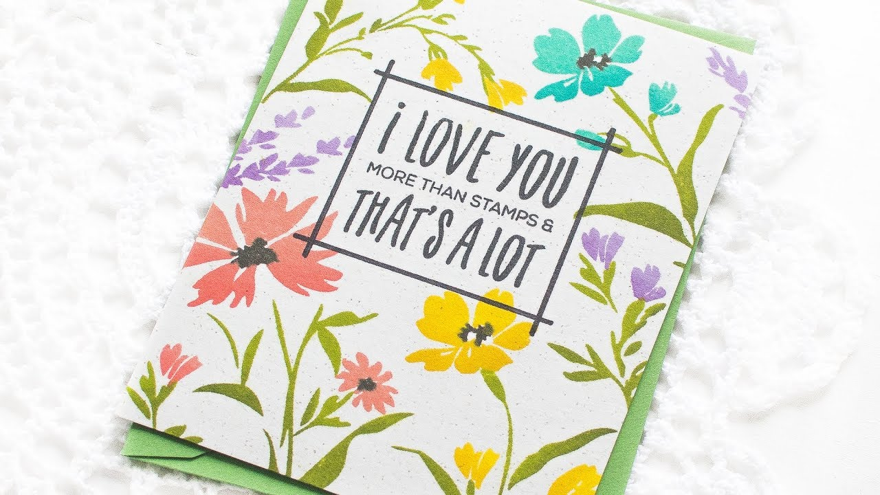 One Layer Cards W Stamped Background Feat Altenew Wildflower Garden Stamp Set
