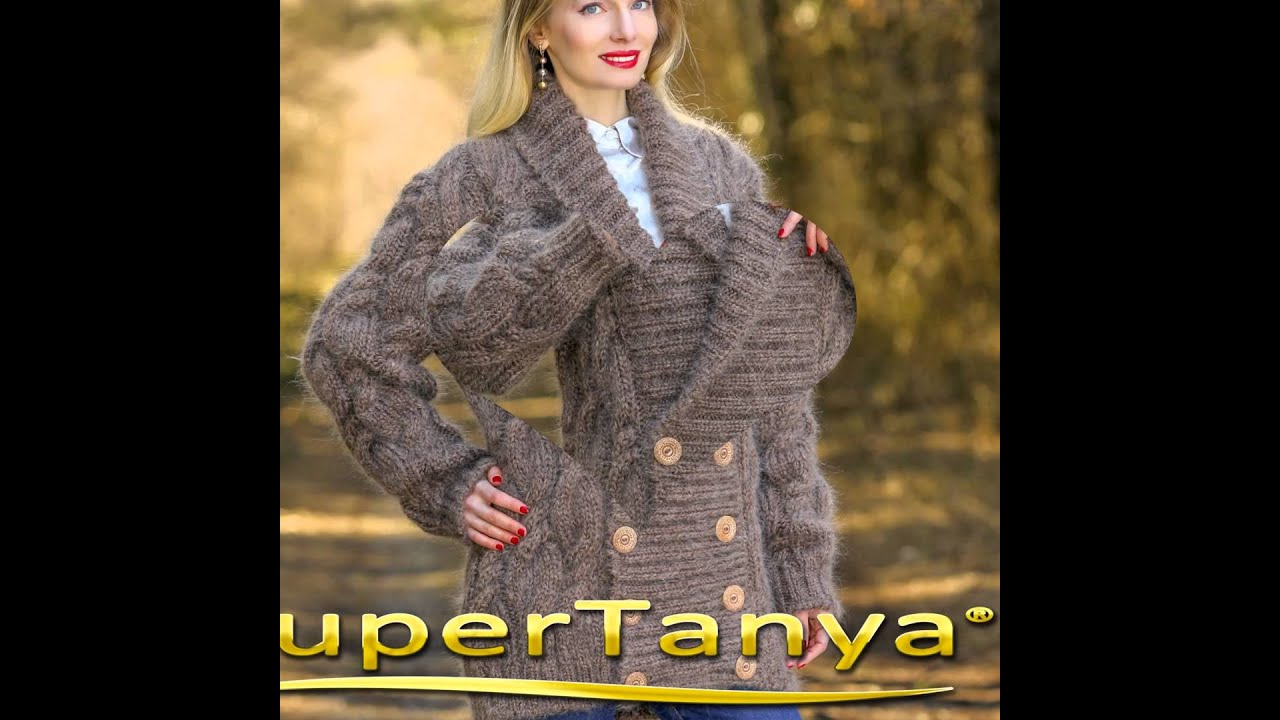 BROWN Hand Knitted Mohair Sweater Coat Fuzzy Shawl Collar Cardigan ...