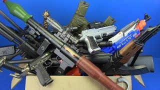 Box of Guns Toys ! Military Gun & Equipment Toys - KIDS TOYS