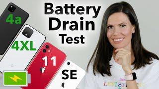 Pixel 4a vs Pixel 4XL vs iPhone SE vs iPhone 11 | Battery Drain Test