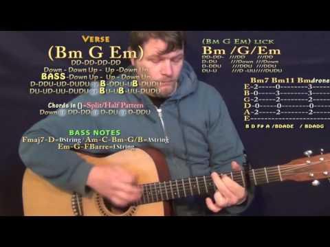 Beibs in the Trap (Travis Scott) Guitar Lesson Chord Chart - Capo 3rd - Am Dm Bm G Em