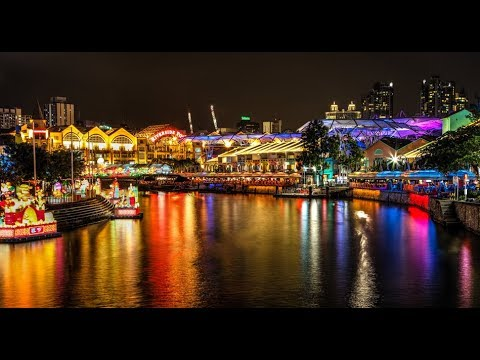 "[4K] 2019 Amazing night ""Clarke Quay"" bar and restaurants walking from MRT station, Singapore"