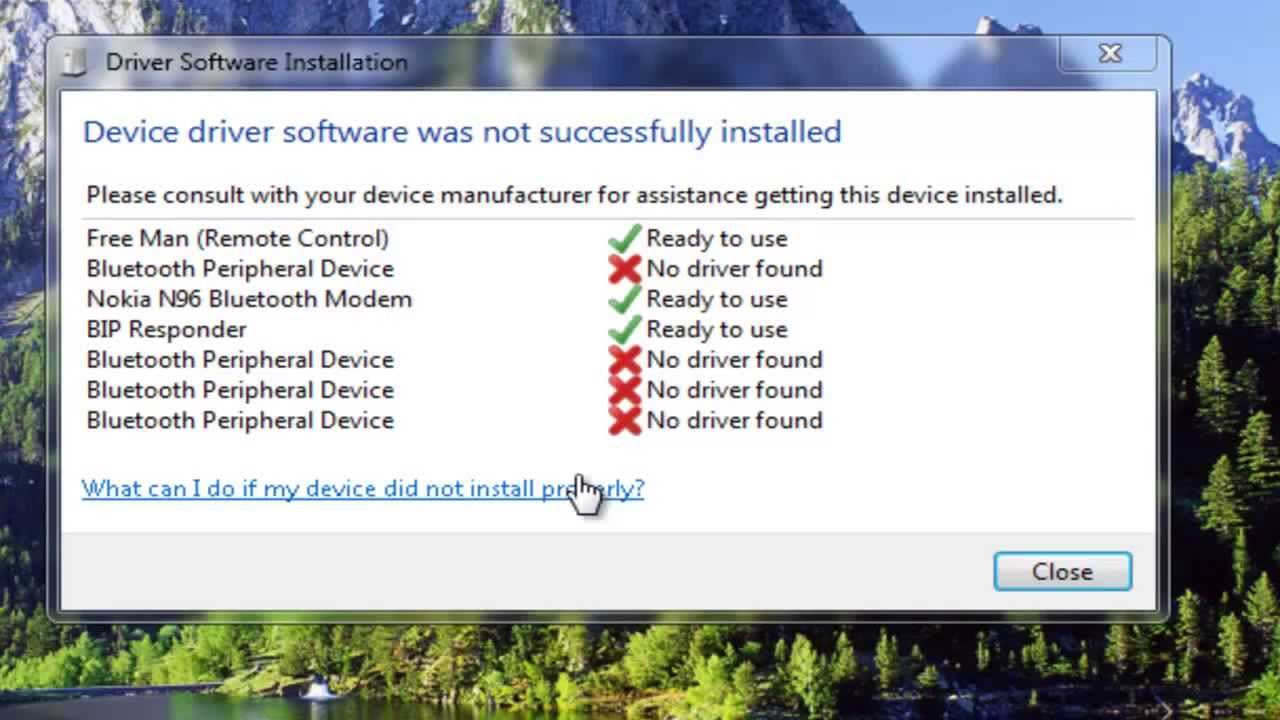 bluetooth peripheral device driver not found