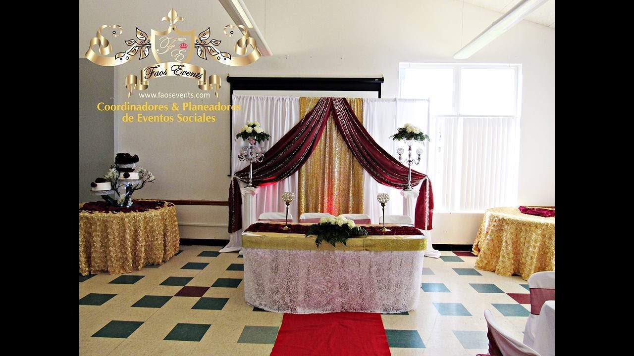 Faos events decoracion de boda dorado y vino tinto youtube - Decoracion salon gris y blanco ...